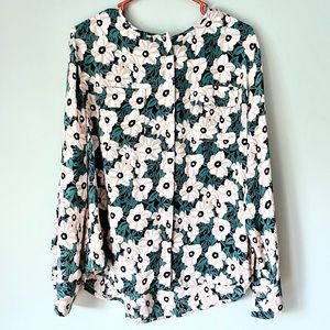 Who What Wear Green Floral Button Blouse Sz Large